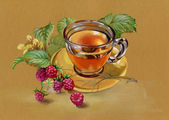 Tea and raspberry — Stock Photo