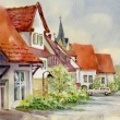 watercolor landscape collection: village life — Stock Photo