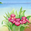 Stock Photo: Watercolor summer landscape with flowers