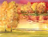 Watercolor autumn landscape collection — Stock Photo