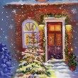 Watercolor house with christmas tree — Foto de Stock
