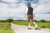 Bavarian man going to monastery Andechs — Stock Photo