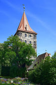 Tower of Nuremberg Castle with tree and flowers — Stock Photo