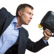 Stock Photo: Man with gas can needs urgent fuel