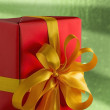 Stock Photo: Red present on green background