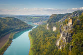 Saxon Switzerland view from Bastei to Wehlen — Stock Photo