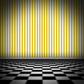 Illustration of tiled floor with yellow striped wellpaper — Stock Photo