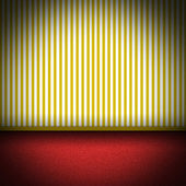Illustration of red carpet floor with yellow striped wellpaper — Stok fotoğraf