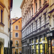 Evening mood in narrow street in Prague — Stock Photo