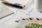 Calculator, dax chart and money — Stock Photo