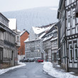 Street with half-timbered houses with snowfall — Stock Photo