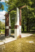 Fountain in spring park — Foto Stock