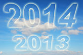 Year 2013 2014 changes in the clouds — Stock Photo
