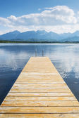 Jetty with lake and alps — Stock Photo