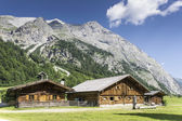 Typical huts in Austrian Apls — Stock Photo