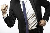 Homme d'affaires en déplacement avec les poings — Photo