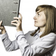 Woman takes a file folder — Stock Photo