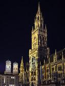 Night scene Munich Town Hall — Stock Photo