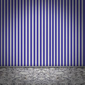 Empty room with striped blue wellpaper — Stock Photo