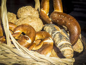 Basket with bread and bretzel — Stock Photo