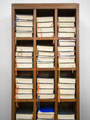 Hymnals in a rack — Foto Stock
