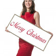 Santa Claus woman with Merry Christmas — Stock Photo