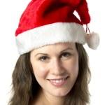 Portrait Smiling Santa Woman — Stock Photo