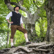 Traditional standing Bavarian man — Stock Photo