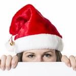 Santa Woman behind board — Stock Photo