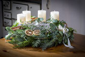 Advent wreath with white candles — Stock Photo