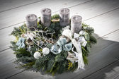 Advent wreath with grey candles — Stock Photo