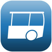Blue Icon Bus — Stock Photo