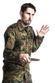 Instruktor samoobrony z nożem — Zdjęcie stockowe
