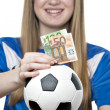 Girls football money box — Stock Photo