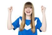 Football girl fist — Stockfoto
