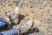 Tramping boots on Jebel Shams — Stock Photo