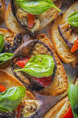 Aubergine bruschetta — Stock Photo