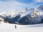 Skiing at French Alps — Stock Photo