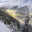 Chamonix Valley lit by the Sun — Stock Photo