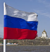 Russian national flag on the Amur river — Stock Photo