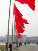Red flags on Tiananmen Square — Stock Photo