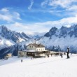 Skiing in French Alps - Stock Photo