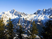 Chamonix Aiguilles lit by the Sun — Stock Photo