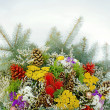 Bouquets of flowers and twigs - Stock Photo