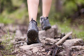 Hiking shoes in outdoor action — Stock fotografie