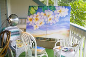Flowers painting outside — Stock Photo