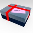Gift box with message tag — Stock Photo