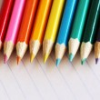 Colourful array of pencil crayons — Stock Photo