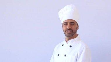 Chef in white toque — Stock Video