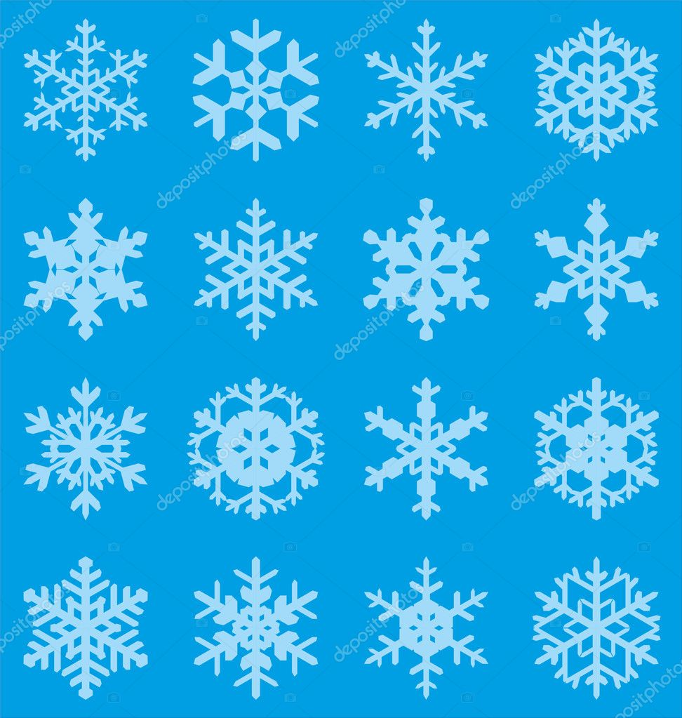 Set of 16 vector snowflakes  Grafika wektorowa #13769501